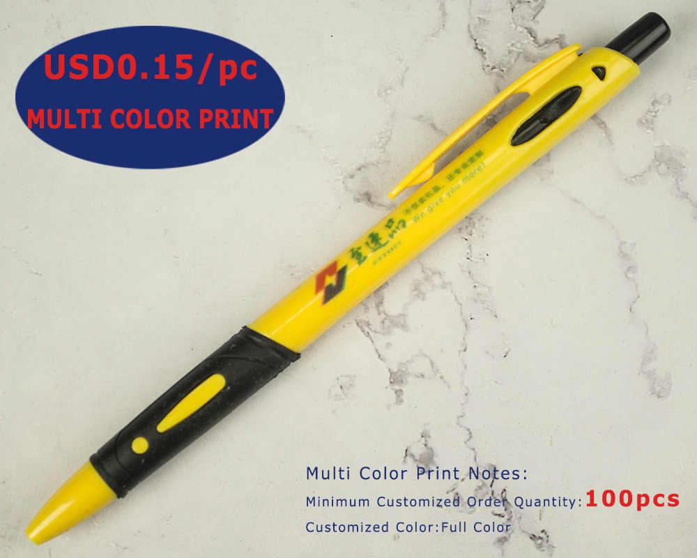 Ucuz Geri Çekilebilir plastik tükenmez kalem, Kauçuk Kavrama, Pürüzsüz Yazma Tükenmez, Ekle Logo ve Isim, Özelleştirilmiş Promosyon Hediye