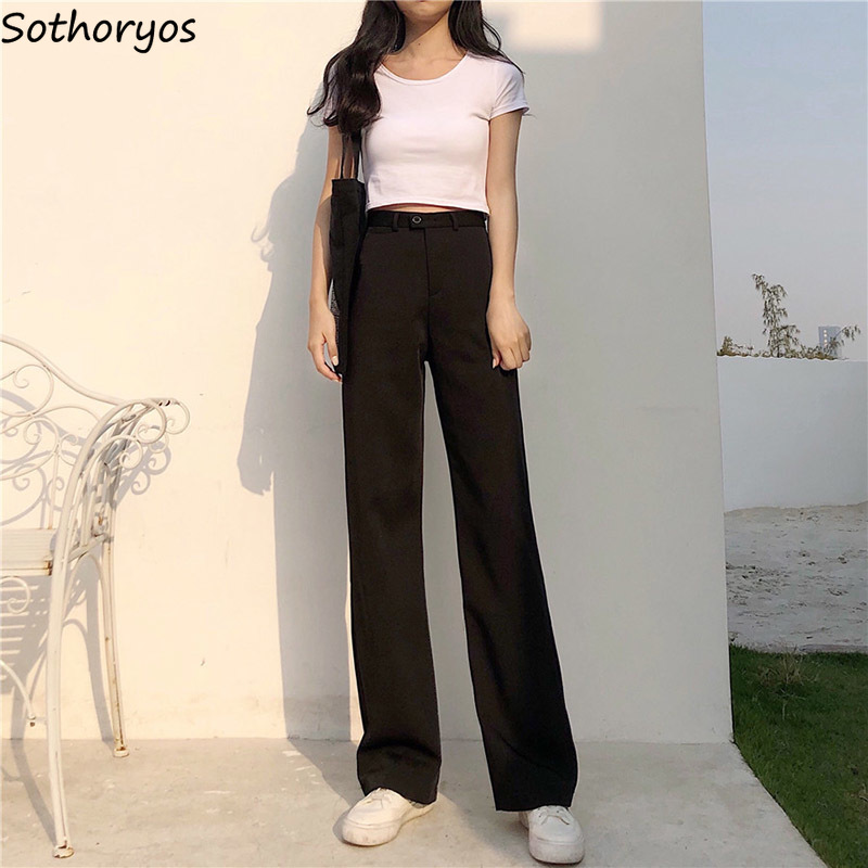 Pants Women Loose High Waist Leisure Wide Leg Trousers Womens Solid Simple Retro All-match Trendy Full Length Pant Ladies Chic