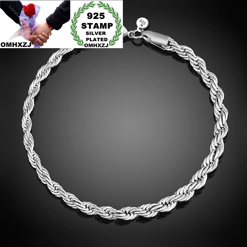 OMHXZJ Wholesale Personality Fashion OL Woman Girl Party Wedding Gift Twisted Chain 925 Sterling Silver Stamp Bracelet BR131