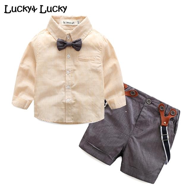 Nuevo bebé ropa de caballero ropa de bebé con el arco + los guardapolvos de la moda roupas infantis menino 2 unids/set