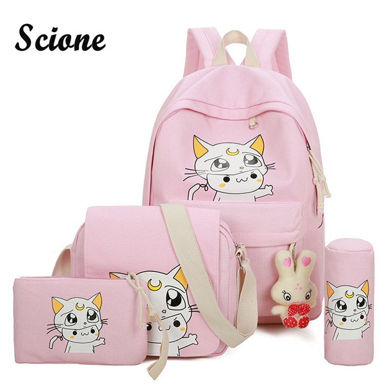 Scione Cute Canvas Backpack Set Lovely Moon Cat Printing Backpacks School Bags for Girls Women Rucksack