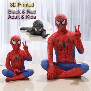 Высокое качество Человек-паук костюм маскарадный костюм для взрослых и детей Хэллоуин костюм красный черный спандекс 3D косплей одежда