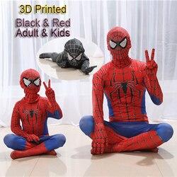 Alta Qualidade Homem Aranha Homem Aranha Traje Fancy Dress Adulto E Crianças Spandex 3D Cosplay Roupas Halloween Traje Preto Vermelho