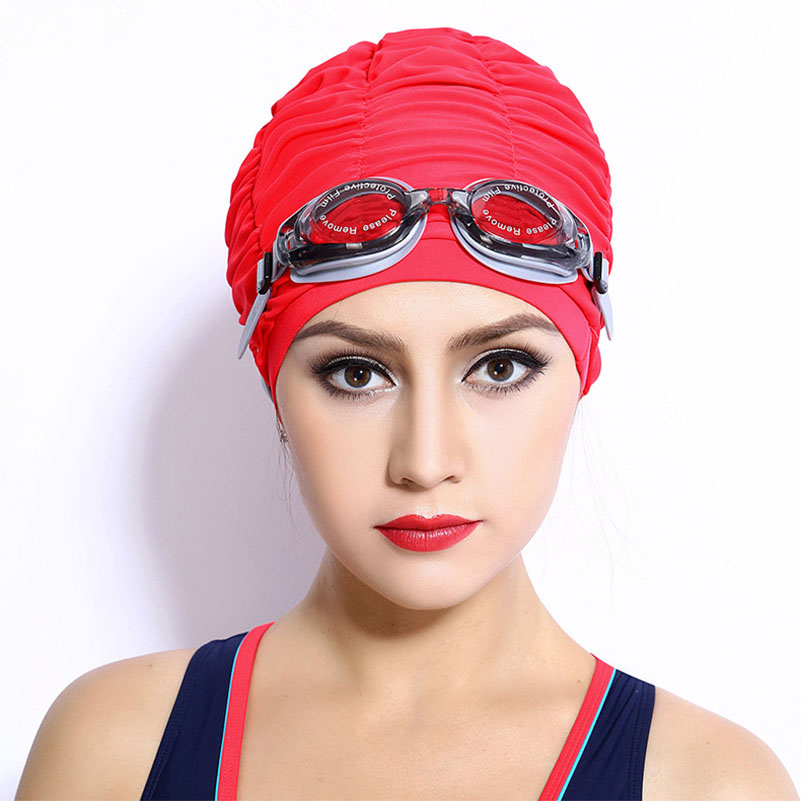 цена на Women Sports Swimming Caps Stretch Elastic Swim Pool Hat Swimming Cap High Quality Nylon Bathing Hats Caps For Men Women Adults