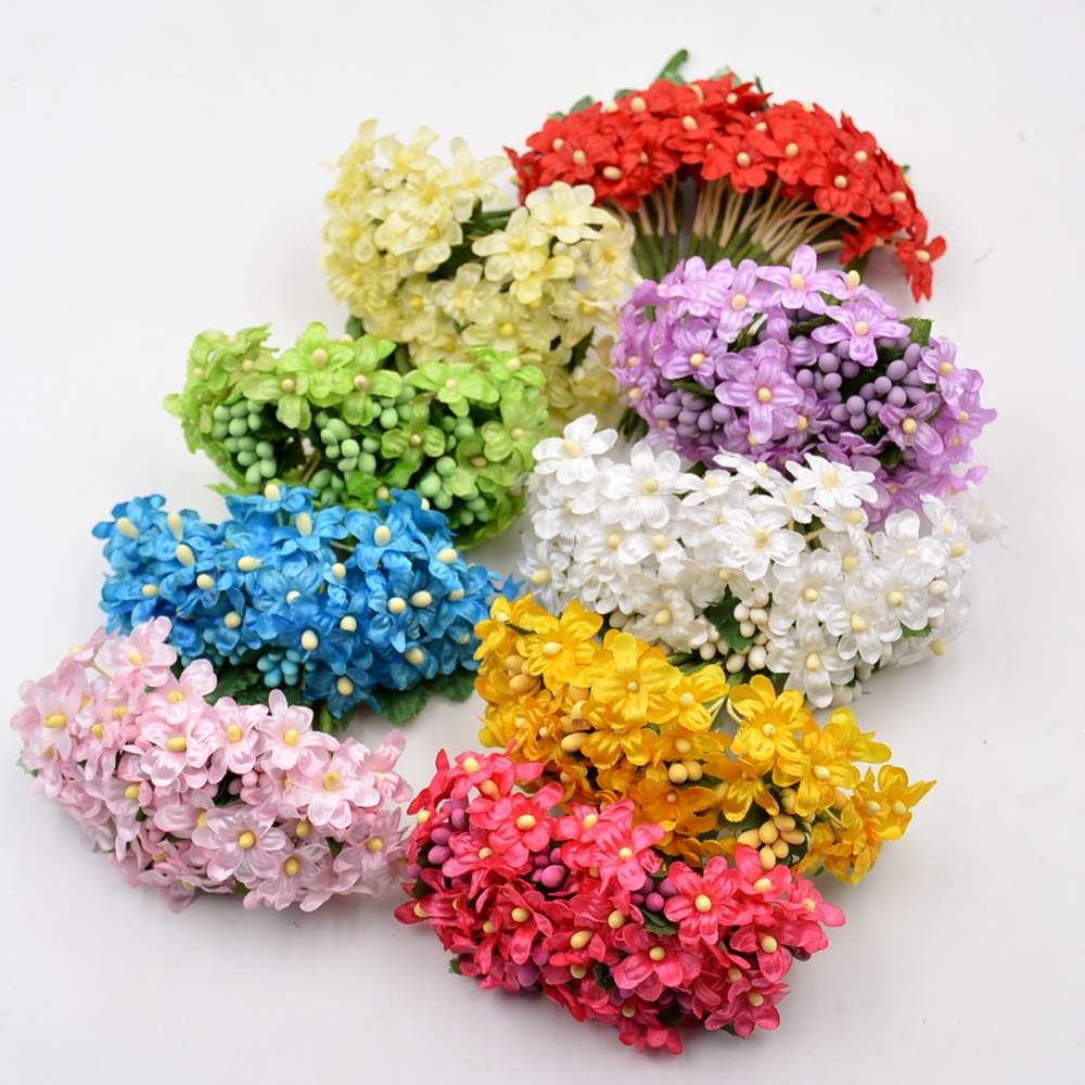 12pcs mini silk artificial flower stamen plum bouquet for for Artificial flowers for wedding decoration