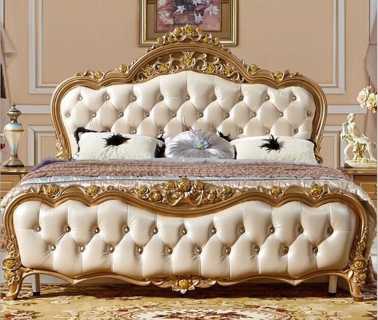 Diseño de estilo francés cama doble de madera material de cama suave ...