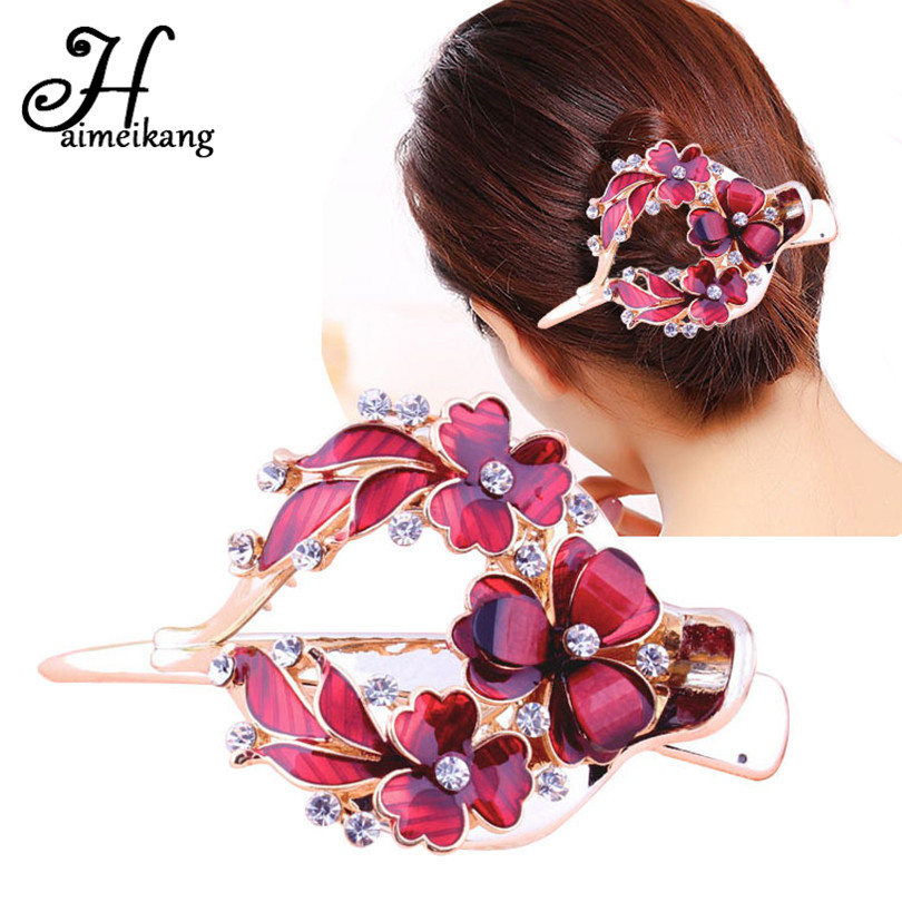 Haimeikang Female Colorful Flower Hollow Heart Hair Clip Barrette Hair Accessories Women Fashion Rhinestone Hairpin   Headwear