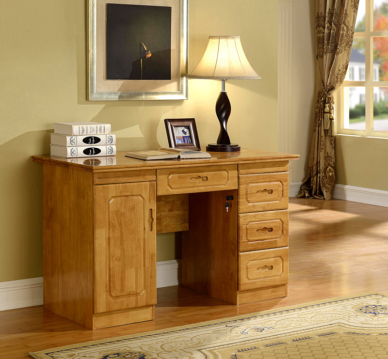 Computer Desk Pc Laptop Wood Table Home Office Study: Table Oak Solid Wood Desk Office With Drawers Desktop