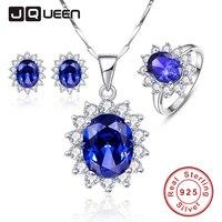 Lüks Takı Setleri Parlak Kübik Zirkonya Mavi Tanzanite Güneş Çiçek Küpe Seti Halka Kolye Gümüş 925 Parti Mücevherat Set