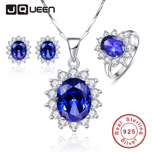 Luxury Jewelry Sets Shiny Cubic Zirconia Blue Tanzanite Sun Flower Earrings Set Ring Necklace Silver 925
