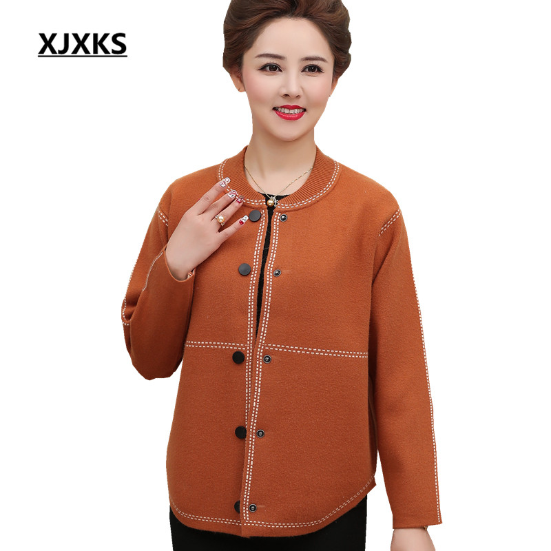 XJXKS Autumn 2018 new cashmere women jacket loose plus size comfortable casual single breasted winter sweater