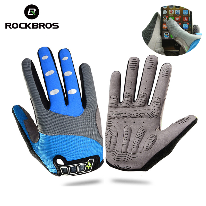 RockBros Cycling Bike Bicycle Gloves Non-Slip Winter Thermal Fleece Gel Pad Long Full Finger Gloves Touch Screen For Smartphone чокеры bizon чокер с кулоном кожа