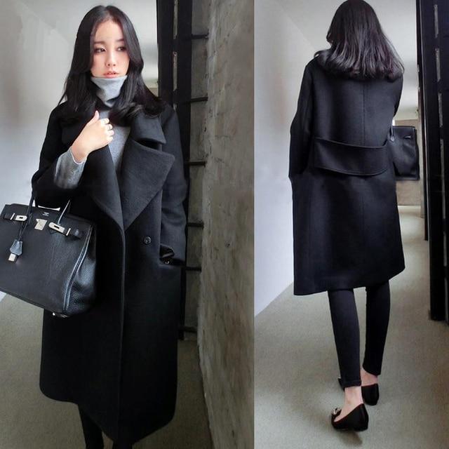 Women autumn winter wool coat elegant high quality plus size female woolen coat long solid color wool jackets outerwear  MZ953