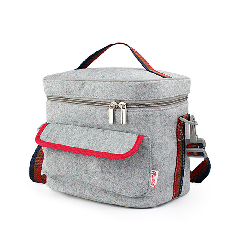New Portable Thermal Insulated Cooler Felt Lunch Bags Picnic Refrigerator Fresh Food Storage Womens Kids Thermo Bag Accessories