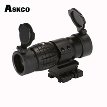 Askco Optic Sight 3X Magnifier Scope Compact Hunting Riflescope Sights With Flip Up Cover Fit For 20mm Rifle Gun Rail Mount