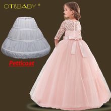 Winter Children Long Graduation Dresses Girl Tulle Lace Flower Wedding Dresses Kids Party Dresses for Girls Birthday Ball Gowns