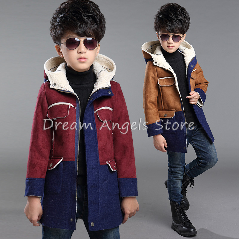 Top quality New Boys Winter Coat Fashion Double Breasted Solid Navy Green Red Khaki Kids Nizi Coats Jacket Boys Children Outerwe jm collection new navy single breasted coat l $99 5 dbfl
