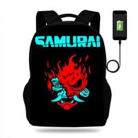 Cool CYBERPUNK SAMURAI Backpack For Teenage Boys Children USB School Bags Men Women Bag Rock Laptop Backpack Kids Book Bag