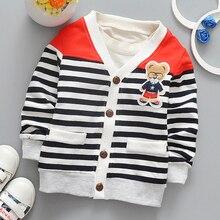 Г. Весенне-осенний кардиган для маленьких мальчиков, рубашки куртки для мальчиков школьная детская одежда в полоску высококачественные повседневные куртки с треугольным вырезом