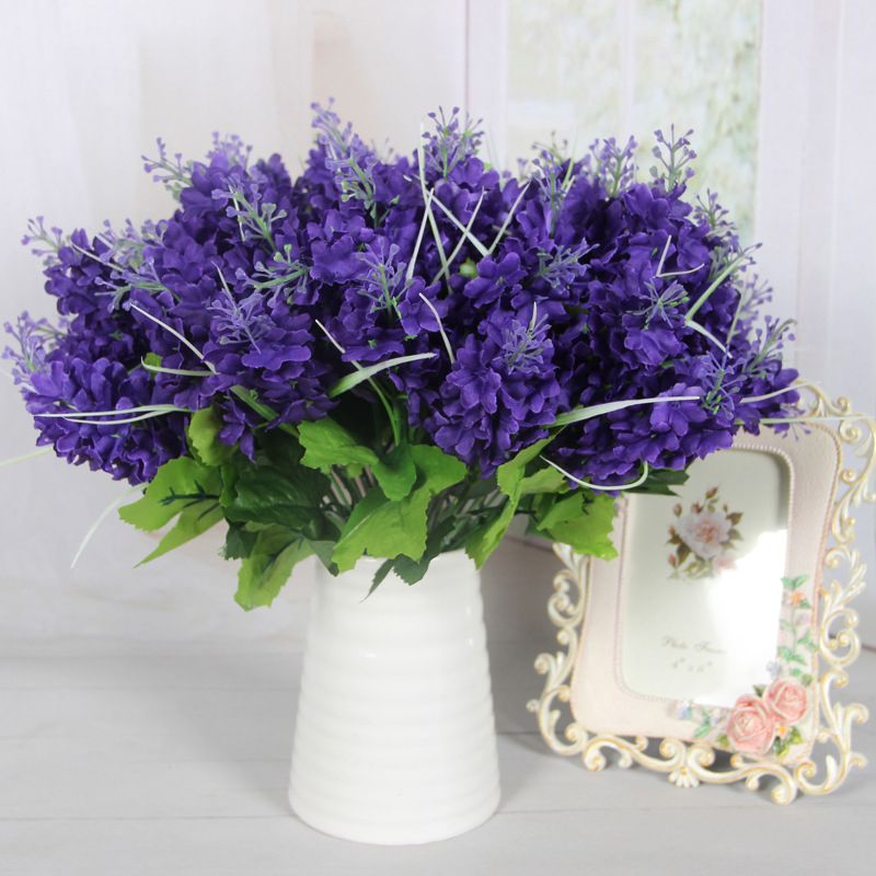 lovely dark purple 5 heads artificial flowers fake hyacinth flower plant pot bedroom home office decor cheap office plants