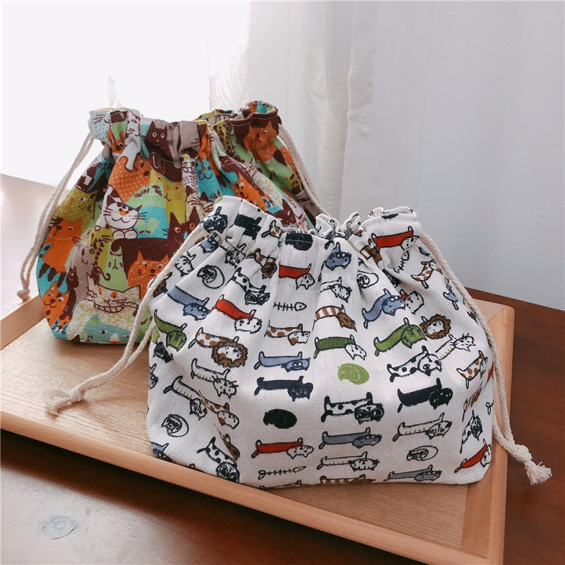 YILE Cotton Linen Lining Drawstring Handbag Lunch Pouch Multi Pattern Cat Falmingo Leaf Geometry