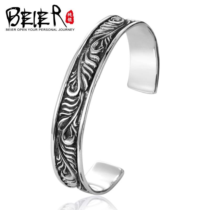 все цены на Beier 925 Sterling Silver Bracelet hot sale black coating trendy leaf man and women bracelet Fashion Jewelry BR925SZ024
