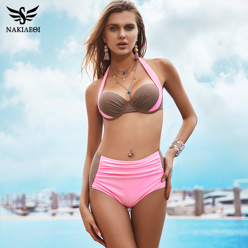 NAKIAEOI 2018 New Sexy Bikinis Women Swimsuit High Waisted Bathing Suits Swim Halter Push Up Bikini Set Plus Size Swimwear 4XL 1