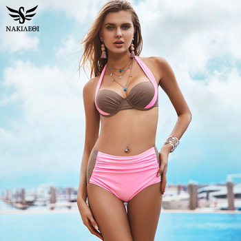 NAKIAEOI 2018 New Sexy Bikinis Women Swimsuit High Waisted Bathing Suits Swim Halter Push Up Bikini Set Plus Size Swimwear 4XL 1