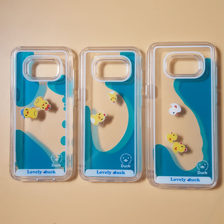 san francisco 64e15 01ddb Lovely Duck Water Liquid Phone Samsung Galaxy S8 S9 S9plus Swimming Rubber  Duck Clear PC Cover For GALAXY S8 Plus G9550