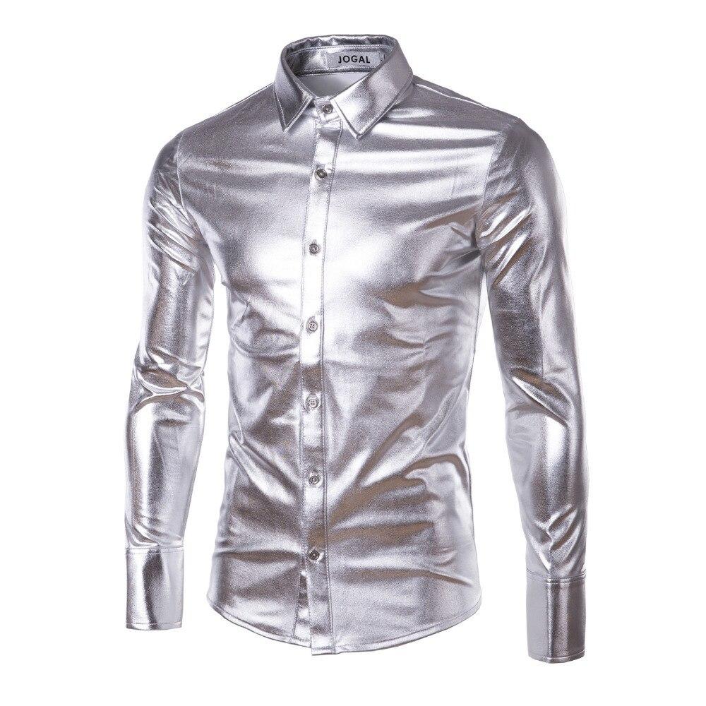 Ночной Клуб Носить мужские Эластичные Рубашки Slim Fit Мода Стильный Блестящий Рубашка Мужские Рубашки С Длинным Рукавом Открытый Сорочка Homme Clothing