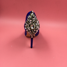 Royal Blue Rhinestones Satin Wedding Shoe Pumps Pointed Toe Slip-on High Heels Stilettos Crystals Real Photo Ladies Shoes Pump