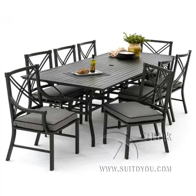 Cast Aluminum 9-Piece Dining Set With Seat Cushions And 96-Inch Rectangle Dining Table, Black Finish