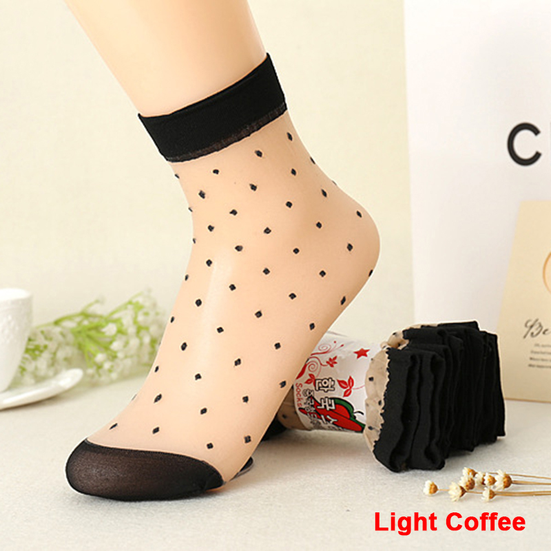 2016 Autumn Women Socks Crystal Silk Transparent Thin Socks Female Dot Candy Color Socks New Women's Clothing Wholesale 10 Pairs (1)