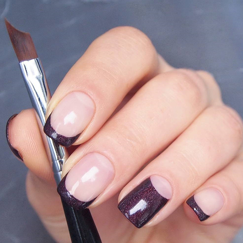 Aliexpress.com : Buy French Tip Nail Brush Silver Black Handle Half ...
