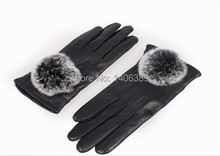 DL20011  Cheap Genuine Sheep Leather Gloves Retail Wholesale Women Winter Black Free Shipping