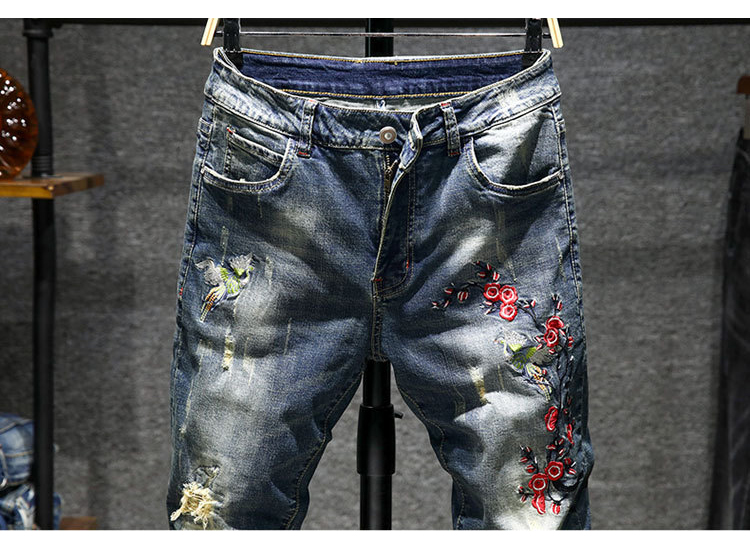 KSTUN Mens Jeans 2018 Autumn Ripped Casual Pants High Stretch Slim Retro Embroidered Red Flowers