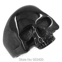 Free shipping! Black Plated Cool Skull Ring Stainless Steel Jewelry Motor Ring SWR0069