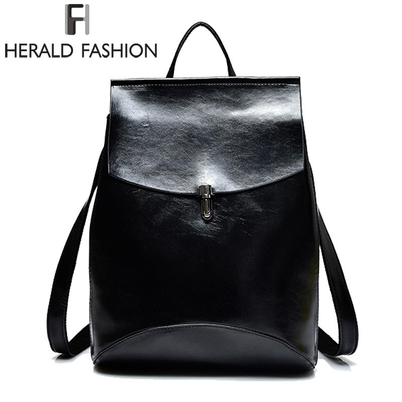 Herald Fashion Casual Women Leather Backpacks School Bags for Teenage Girls Youth Laptop Backpack Daily Bags Ladies Travel Bag women backpack bag real leather backpacks for teenage girls school bags fashion travel backpack youth rucksack mochila feminina