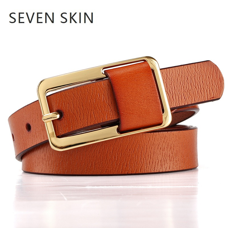 SEVEN SKIN fashion   belt   female 2018 genuine leather strap women's gold pin buckle jeans candy waistband luxury   belts   8 colors