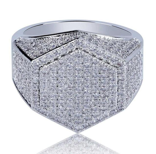 #7-11 2018 top quality luxury geometric Hexagon engagment ring micro pave AAA+ iced out lab cz hiphop rock jewelry