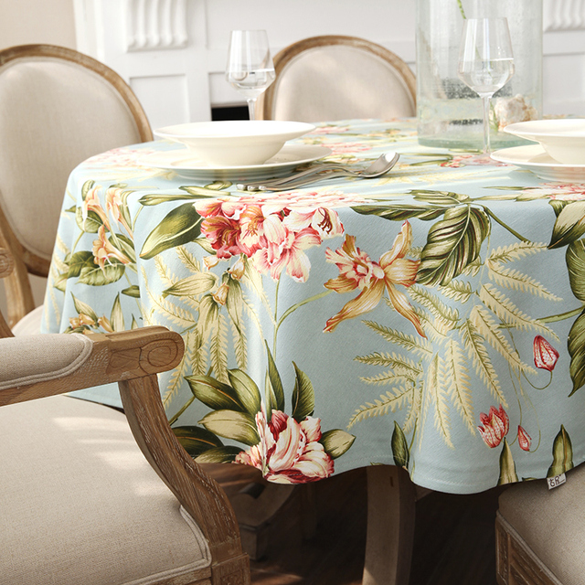 Round Table Cloth 26 Colors Flowers Geometry Solid Colors Round Table  Dining Decor Cover Polyester Faux