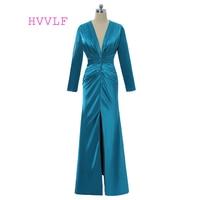 Blue 2017 Formal Celebrity Dresses Mermaid Deep V Neck Long Sleeves Slit Sexy Long Evening Dresses