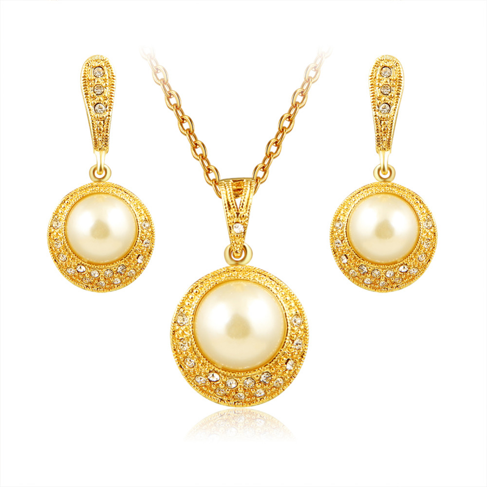 Aruel Dubai Gold Imitation Pearl Round Necklace Pendant Drop Earrings  Luxury Charm Women New Jewelry Sets