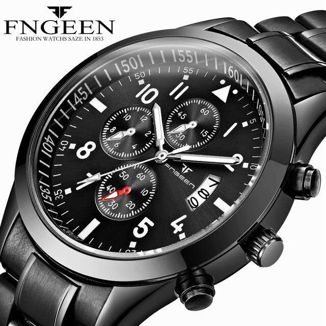 de06a57a5c0 Business Casual Quartz Relógio de Pulso de Aço Inoxidável Banda de Couro  Genuíno Mens Relógio Calendário