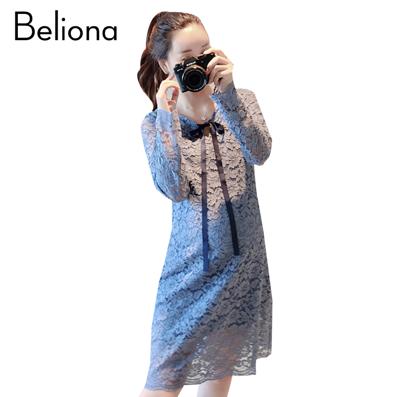 2018 Spring Lace Maternity Clothing Formal Pregnancy Dress Cotton Fashion Long Sleeve Maternity Clothes For Pregnant Women