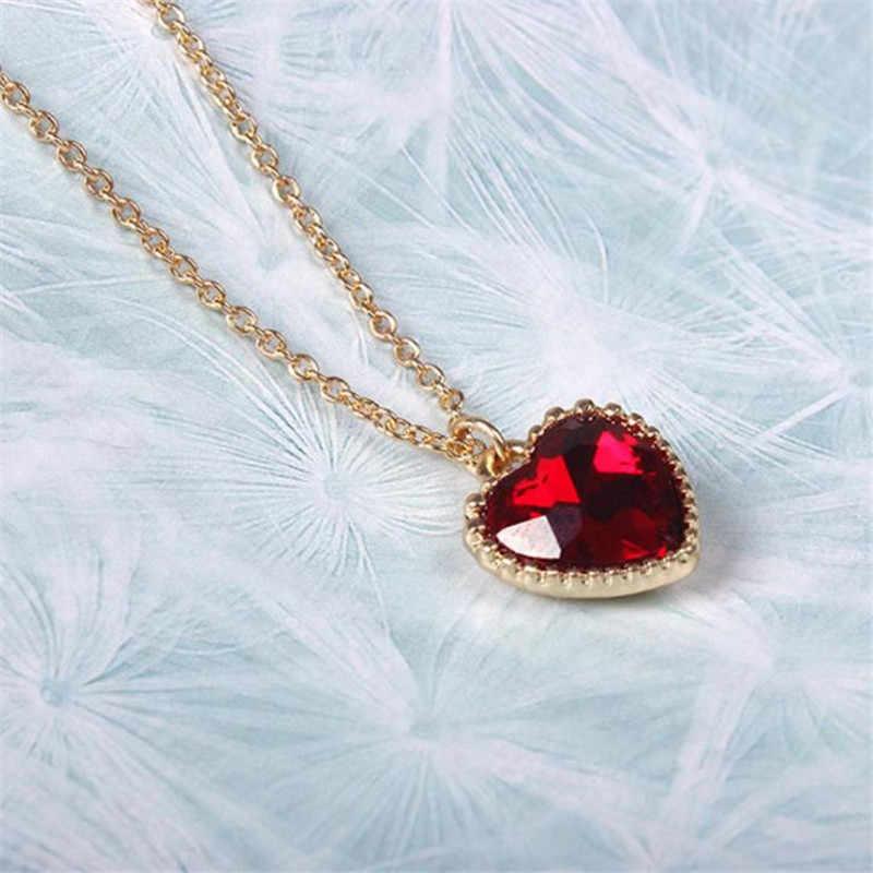 รักใหม่/หัวใจสร้อยคอเครื่องประดับโรงงานขายส่ง Original Soft Meng น้องสาวแก้วสีแดง Clavicle Chain