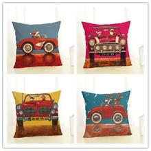 Christmas Cartoon Creative Cushion Cute Car Dog Letter Printing Happy holiday Throw Pillow Pillowcase Sofa