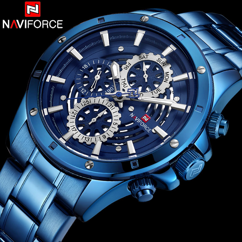 NAVIFORCE Luxury Brand Quartz Watches Men Stainless Steel Skeleton Sport Watch Mens Fashion Waterproof Clock Relogio Masculino