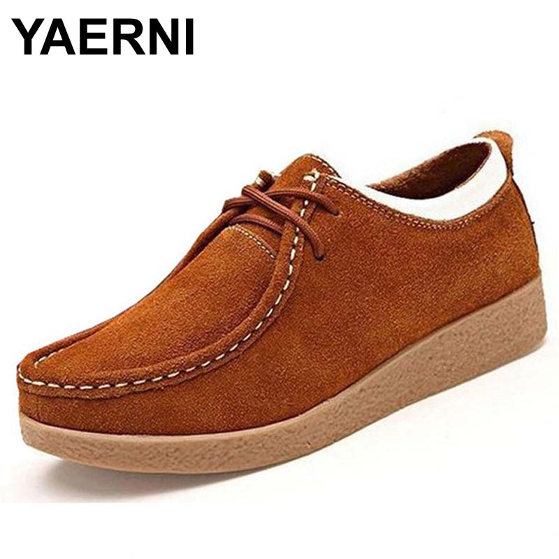 YAERNI Autumn and winter women shoes genuine   leather   flats flexible driving shoes woman round toe fashion lace up sneakers
