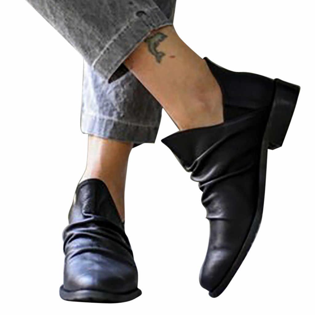 YOUYEDIAN frauen stiefel Schwarz und Grau schuhe frau herbst stiefel damen Stiefel Vintage Knöchel Kurze Cowboy Motorrad Stiefel # g20